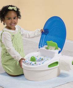 Help little ones learn how to use the potty with this oh-so-simple training toilet. A soft, contoured seat provides plenty of comfort, while a holder for wipes and toilet tissue dispenser ensure that sweeties will be safe and clean during this important step in their young lives.