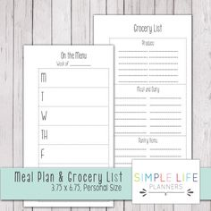 $2.25 Personal Size Planner Printable, Meal Plan and Grocery List