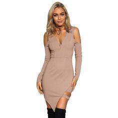 Deep V-Neck Women Dress New off Shoulder Asymmetrical Hem Hole Design Sheath Bodycon Bandage Party Dresses