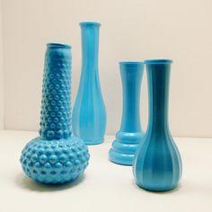 vintage milk glass vases  //  turquoise aqua blue  //  by nashpop, $28.00