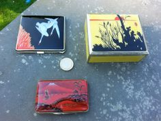 Three enamel silver boxes .The yellow one by Louis Kuppenheim. The red one still in my present Collection.