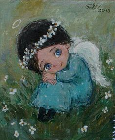 Nino Chakvetadze Tbilisi, Georgia) of Soviet Union Angel Pictures, Cute Pictures, Adorable Petite Fille, Angel Drawing, I Believe In Angels, Ecole Art, Fun Illustration, Guardian Angels, Angels And Demons
