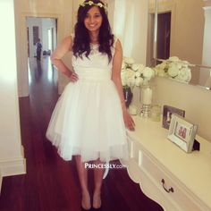 """Lace Ivory/Blue Taffeta Bridesmaid Dress In knee Short Length"" ---- Princessly.com Customer Photos"