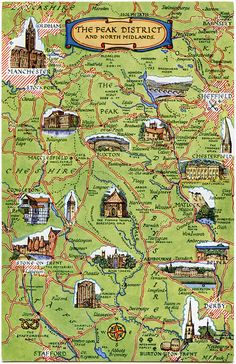 The Peak District and North Midlands. Derby Sheffield Buxton We have several copies of this card available, all are unused and will be of similar condition to the one shown in the scan. Peak District England, England Map, Travel England, Yorkshire England, Cornwall England, Yorkshire Dales, Uk Destinations, Scenic Photography, Aerial Photography