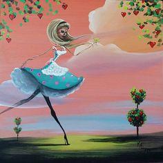 Day Of the Dead Acrylic Original Painting Alice in Wonderland Martini Dia de los Muertos Kat Tatz Acrylic On Wood Panel,