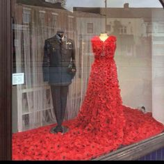 Poppy dress and military suit Nice Dresses, Formal Dresses, Wedding Dresses, Beautiful Dresses, Knitted Poppies, Military Suit, Poppy Dress, Remembrance Day, Bridal