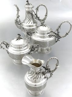 Antique French Sterling Silver Tea Coffee Service Set 4pc by E. Puiforcat & A. Debain