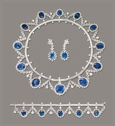 A GROUP OF SAPPHIRE AND DIAMOND JEWELLERY Comprising a necklace designed as a line of square-cut diamonds, enhanced by brilliant-cut diamond detail, suspending a fringe of graduated clusters of oval and cushion-shaped sapphires within brilliant-cut diamo Sapphire Jewelry, Diamond Jewelry, Sapphire Diamond, Uncut Diamond, Blue Sapphire, Diamond Rings, Jewelry Sets, Fine Jewelry, Clean Gold Jewelry