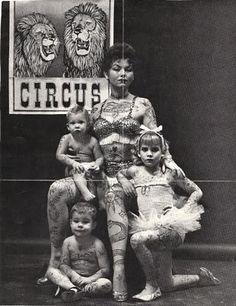 Tagged with photography, vintage, life, circus; Circus life-outside the big top Old Circus, Vintage Circus, Vintage Carnival, Cirque Vintage, Ta Moko Tattoo, Snake Tattoo, Vintage Pictures, Vintage Photographs, Old Photos
