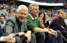 Former president Bill Clinton and Terry McAuliffe enjoy the Syracuse-Georgetown game. Catholic University, Syracuse University, Georgetown University, Georgetown Basketball, Alma Mater, Former President, Terry Mcauliffe, Presidents, In This Moment