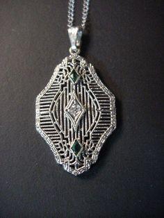 """Antique Art Deco 14K White Gold Diamond Emeralds Pendant Spiedel Necklace 18"""" #Spiedel #Pendant"""