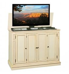 Harbor Weathered White TV Lift Cabinet By TVLiftCabinet.com