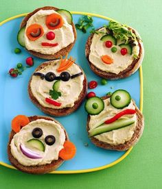 Funny Face Open Sandwiches - top English muffins with healthy spreads and veggies. Check out all 6 snacks. Really cute.