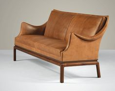 FRITS HENNINGSEN CANAPÉ, Circa 1933; In Mahogany And Leather