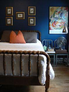 Loyal Blue by sherwin williams Blue Bedroom, Closet Bedroom, Master Bedroom, Bedroom Office, Teen Bedroom, Dark Blue Living Room, Studio Room, Guest Bed, Blue Walls
