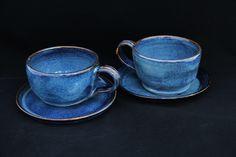 bowls para caldos e sopas. esmalte azul manchado, queima oxidante de alta