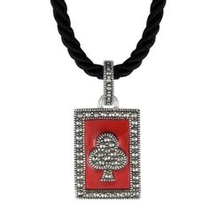 Aura 925 Sterling Silver Enamel & Marcasite Pendant with Necklace 15 Inch - Free Shipping