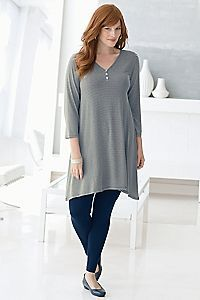 Tunics and leggings are a good choice for a relaxed look.  But in the name of all that is holy, when wearing leggings make sure that top covers your crotch and every inch of your ass or don't do it.