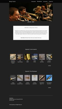 Mockup - Andy Music Store homepage (version 2)