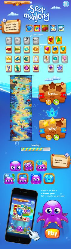 Sea Mahjong 2D Game Graphic 3-match on Behance