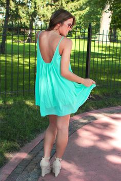 Mint A-line Dress   uoionline.com: Women's Clothing Boutique
