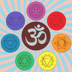 Stáhnout - Čakra piktogramy a symbol Om v centru. Sada čakry v hinduismu, buddhismu a Ayurveda. Prvky pro svůj design. Vektorové ilustrace — Stocková ilustrace #100327008
