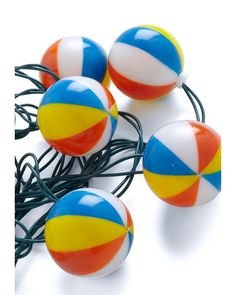 Having a Beach Ball Light Set~ wonder if I could make these with ping pong balls painted with a hole drilled in them?