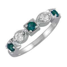 Lab-created Emerald and White Sapphire Stackable Ring in Sterling ...