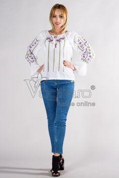BLUZA DAMA TIP IE TRADITIONALA BRODATA CU FLORI MOV Graphic Sweatshirt, Sweatshirts, Sweaters, Fashion, Moda, Fashion Styles, Sweater, Trainers, Fashion Illustrations