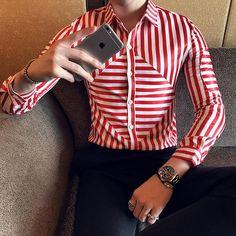 Asymmetric Red White Stripes Men Camisa de manga comprida