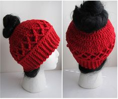 Messy Bun Hat Crochet Pattern with Cable Diamond Stitch  Messy Bun Hats are all the rage and are a wonderful addition to your winter crochet. My pattern is user friendly for all crochet skill levels - from beginner to expert! Please note that some portions of the Diamond Cable stitch may prove challenging to beginners!  ***Revised version: this hat is slightly larger and taller than my original Messy Bun Hat Cable Pattern and is suited for those who prefer a longer hat, or who have thicker…