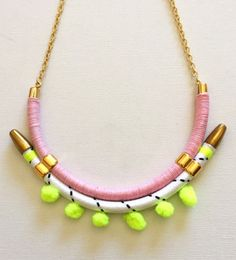 15 Ways to Use Pompoms in Jewelry - Pink and neon statement necklace