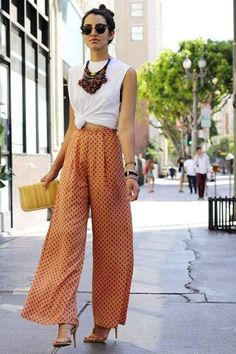 Cómo conjuntar los pantalones anchos, palazzo y baggy pants: Fotos de los modelos (21/44) | Ellahoy