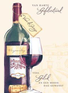 verjaardagskaart man - van harte gefeliciteerd met wijn