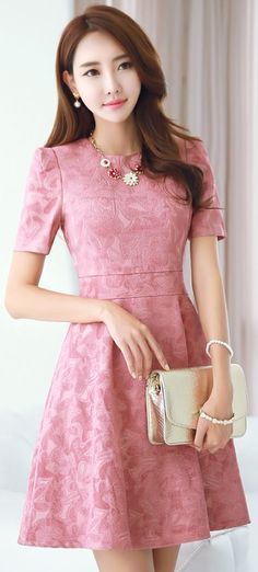 StyleOnme_Floral Jacquard Short Sleeve Flared Dress #pink #elegant #cute…