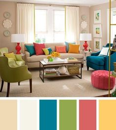 The living room color schemes to give the impression of more colorful living. Find pretty living room color scheme ideas that speak your personality. Good Living Room Colors, Colourful Living Room, Living Room Color Schemes, Living Room On A Budget, Living Room Paint, New Living Room, Living Room Designs, Living Room Furniture, Home Furniture