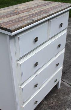DIY Regular dresser to a Vintage style Dresser. I like the rustic feeling the…