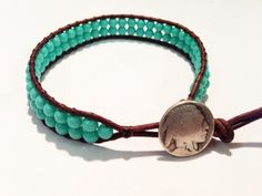Turquoise bead bracelet with silver Indian head nickel button by ValiantMosaic, $20.00