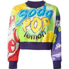 Moschino Soda Pop Sweatshirt ($488) ❤ liked on Polyvore featuring tops, hoodies, sweatshirts, sweaters, moschino, shirts, multicolour, graphic long sleeve shirts, sweatshirts hoodies and long sleeve cotton shirt