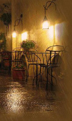 Cafe rain rain storm lights outdoors animated gif table