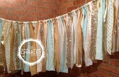 Mint Gold Sequin Fabric Banner Garland  Wedding by ohMYcharley