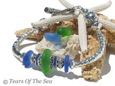 Blue Sea Glass Bracelet