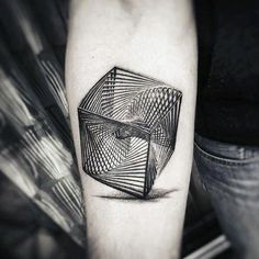 Guys Impossible Object Optical Illusion Forearm Tattoo