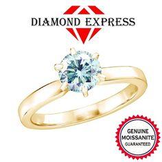 1/3 Ct Belgium Intense Light Blue Real Genuine Fire Hot Genuine Moissanite 6 Prongs 14K Gold Solitaire Ring. Starting at $29