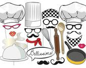 Cooking Photobooth Party Props Set - 24 Piece PRINTABLE - Great fun! Little Chef, Cooking party, cooking competition, Photo Booth Props