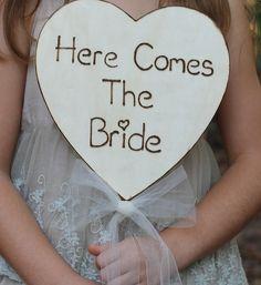 Here Comes The Bride Sign Flower Girl Basket Alternative - Ring Bearer Alternative, Tulle Ribbon, Rustic Wedding, Shabby Chic Weddings. $34.50, via Etsy.