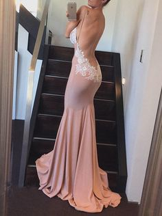 Sexy Backless Prom Dress, Mermaid Prom Dress, Long