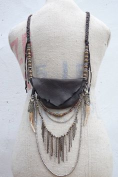necklace with oxidized chain, tusks, leather