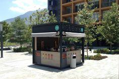Cafe Shop Design, Small Cafe Design, Kiosk Design, Store Design, House Design, Container Coffee Shop, Container Cafe, Coffee Bar Home, Coffee Store