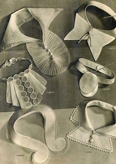 Looking at inspiration for necklines and collars to go with a new vintage blouse I'm going to make using Art Deco style fabric 1930s Fashion, Diy Fashion, Vintage Fashion, Fashion Design, Fashion Goth, Vintage Vogue, Origami Fashion, Fashion Fabric, Vintage Sewing